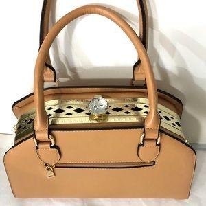 Handbags - Hinged Satchel with Gold and Crystal Knob